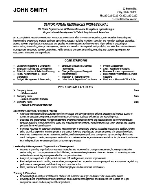 Senior HR Professional. ProfessionalResume ...  Human Resources Resume Samples