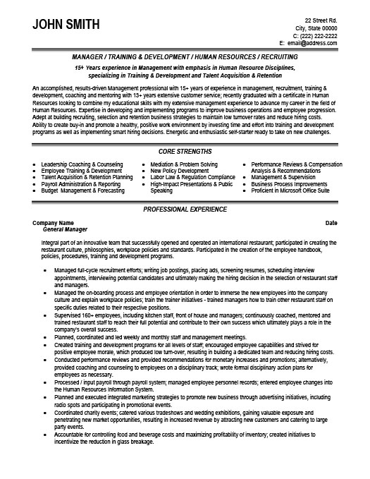 general manager resume template premium resume samples example - Training And Development Resume Sample
