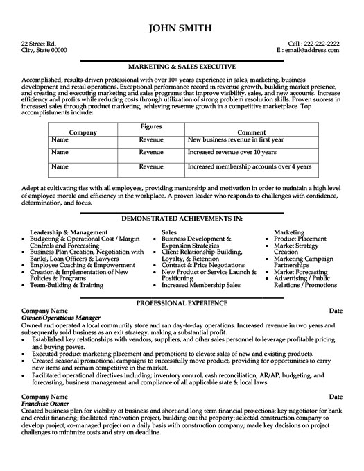 Marketing And Sales Executive Resume Template | Premium Resume