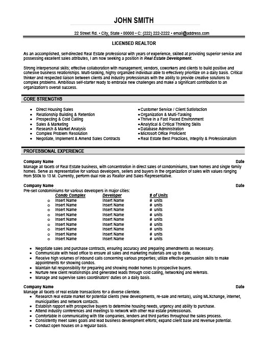 Licensed Realtor Resume