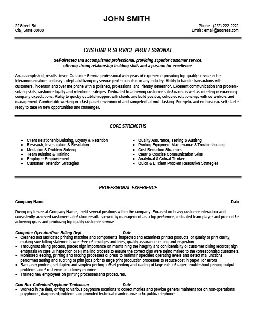 customer service professional resume template premium resume samples example - Customer Service Representative Job Description Resume