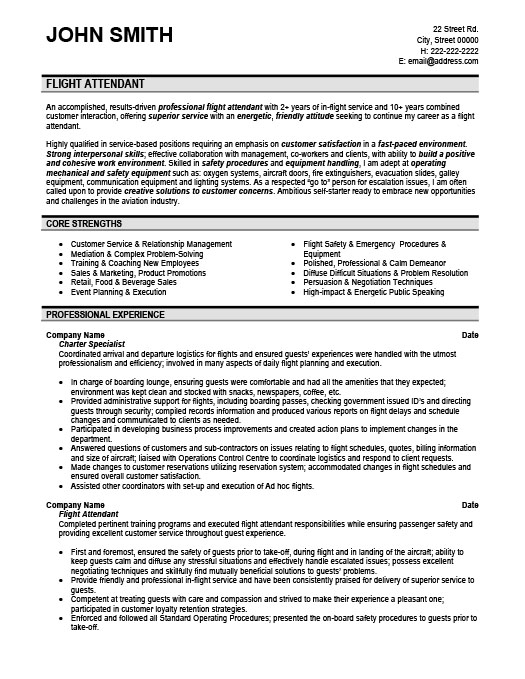 Flight Attendant Resume Template | Premium Resume Samples & Example