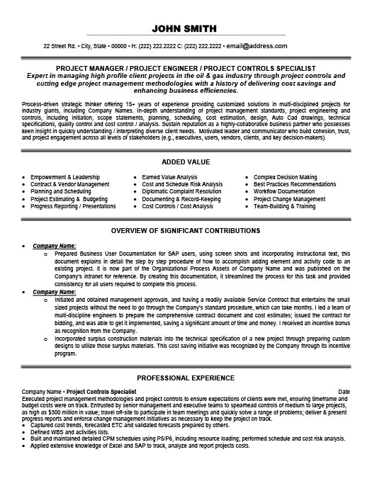 Project Controls Specialist Resume