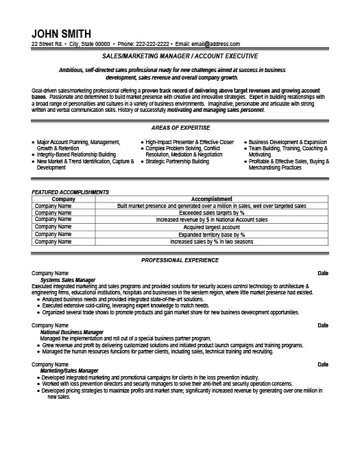 Sales Or Marketing Manager Resume Template