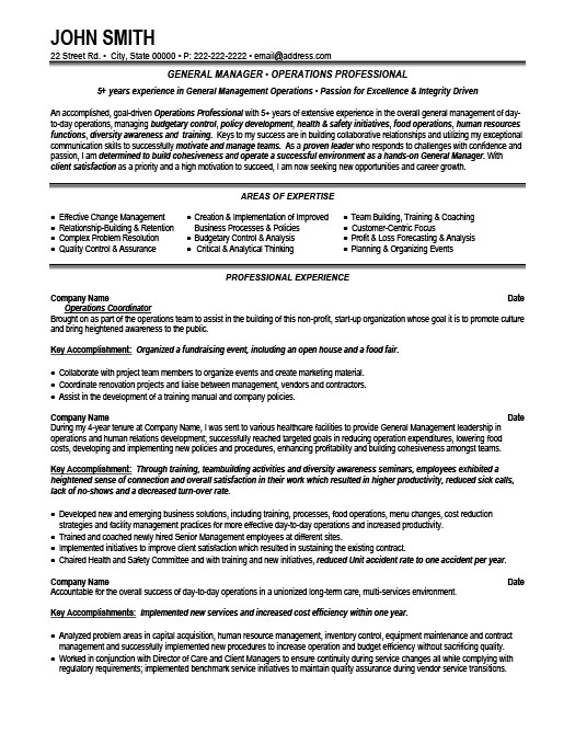 general manager resume - Resume Sample For General Manager