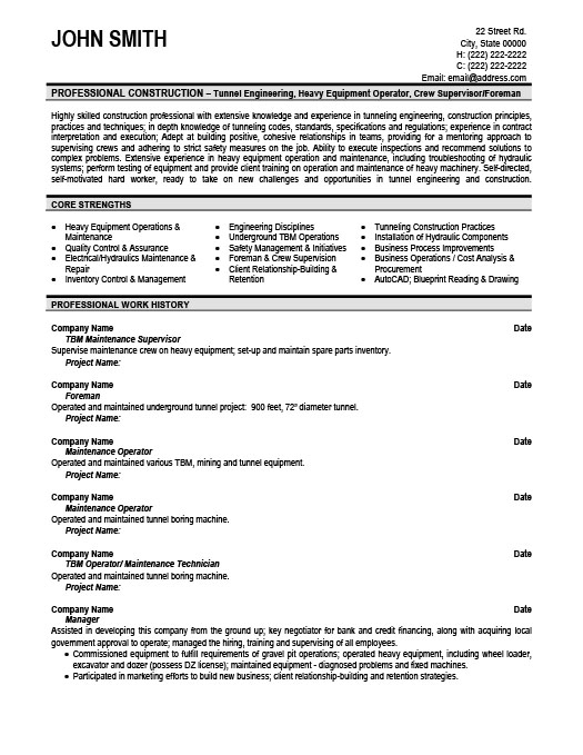 Maintenance Supervisor ProfessionalResume Template