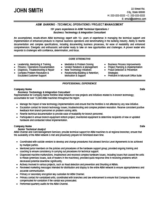 Technical Operator Resume Template