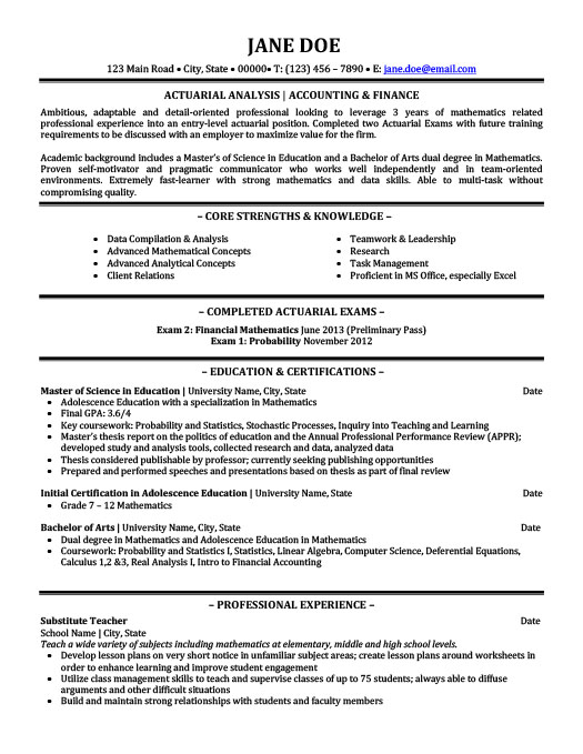 Actuarial Analyst Resume Template | Premium Resume Samples & Example