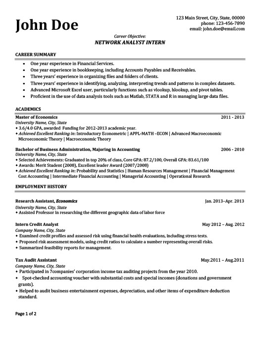 Network Analyst Intern Resume Template Premium Resume Samples