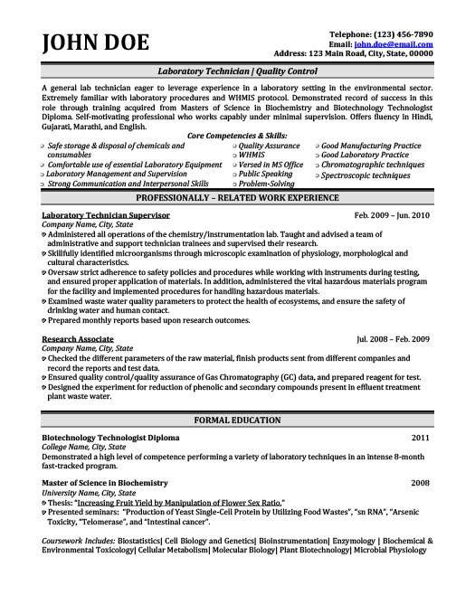 Laboratory Technician  Lab Technician Resume