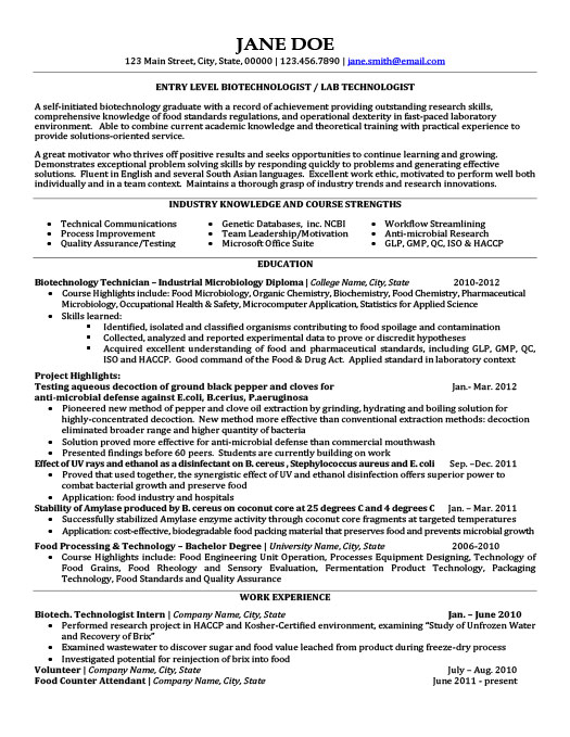 biotechnologist resume template premium resume samples example