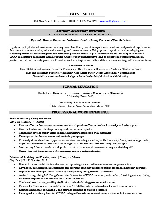 customer service representative resume - Customer Service Representative Resume