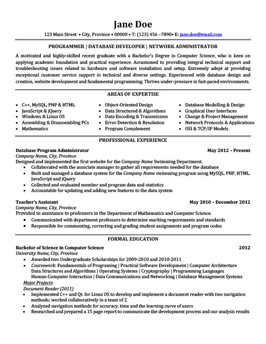 Programmer | Database Developer | Network Administrator Resume  Resume Database