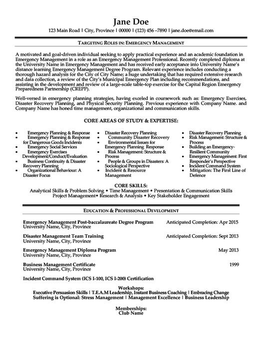 Emergency Management Resume  Resume Examples Management