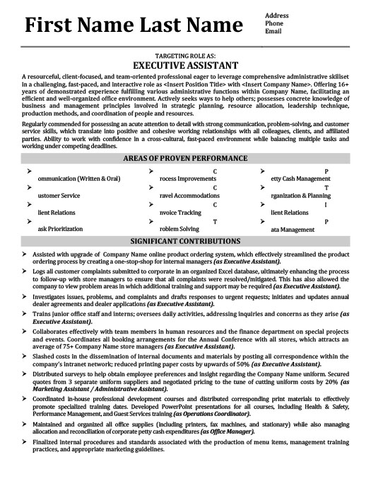Executive Assistant   Office Manager Resume
