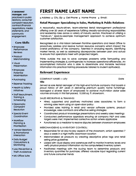 relationship or category manager resume template
