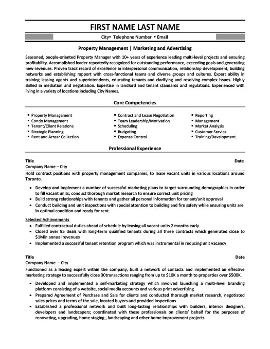 Property Management - Marketing and Advertising Resume Template ...