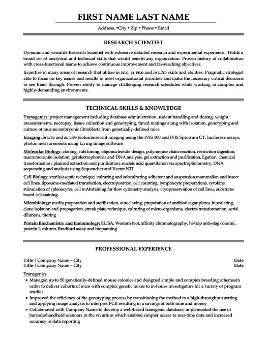 Research Scientist. ProfessionalResume ...  Clinical Laboratory Scientist Resume