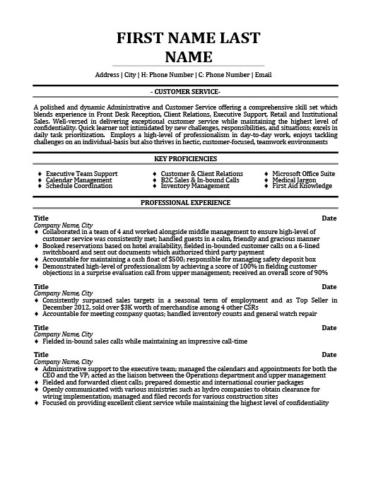 Front Desk Reception   Client Relations  Customer Support Resume