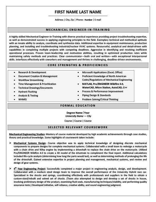 Mechanical Engineer In Training Resume  Training On Resume