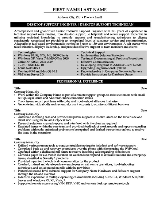 Superior Desktop Support Engineer Resume Pertaining To Desktop Support Resume Sample