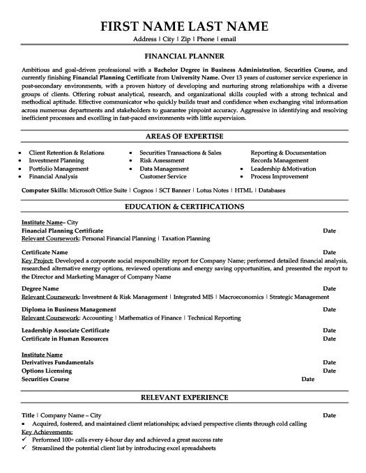 Financial Planner Resume Template | Premium Resume Samples & Example