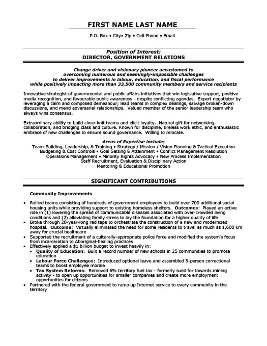 Director, Government Relations Resume  Examples Of Government Resumes
