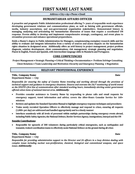 humanitarian affairs officer resume template