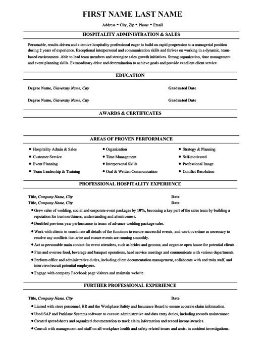 hospitality administration sales resume template