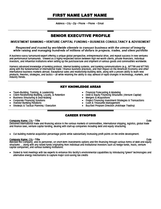 Investment Banker Resume Template | Premium Resume Samples & Example