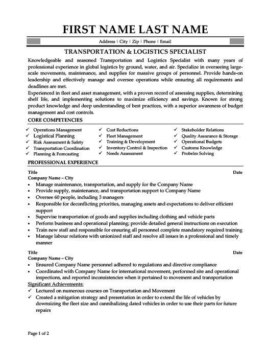 Transportation U0026 Logistics Specialist  Transportation Resume