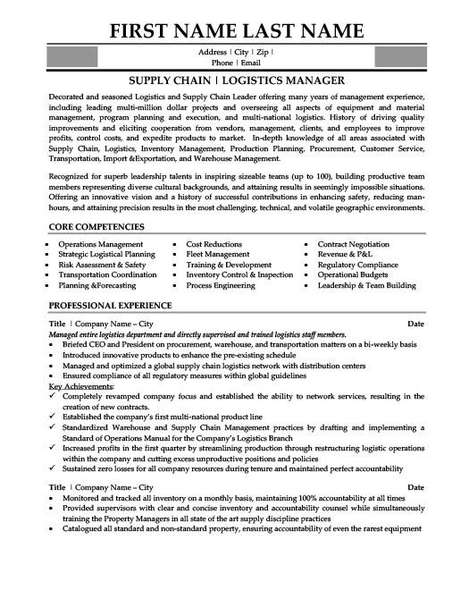 logistics manager resume template  premium resume samples