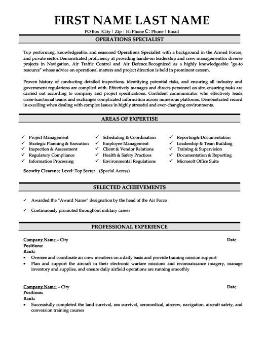 Operations Specialist Resume Template Premium Resume Samples Example