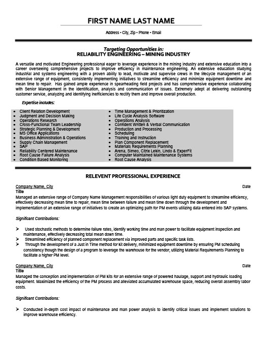mining engineer in training resume template premium resume