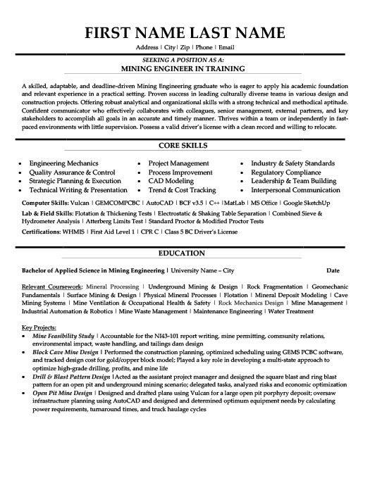 Mining Engineer in Training Resume Template | Premium Resume Samples ...
