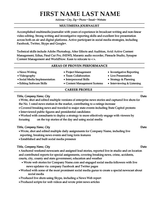 Multimedia Journalist Resume