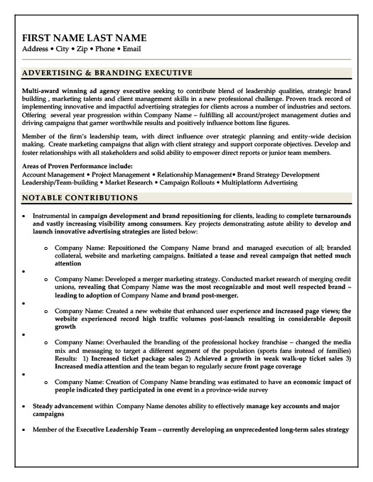 Advertising & Branding Executive Resume