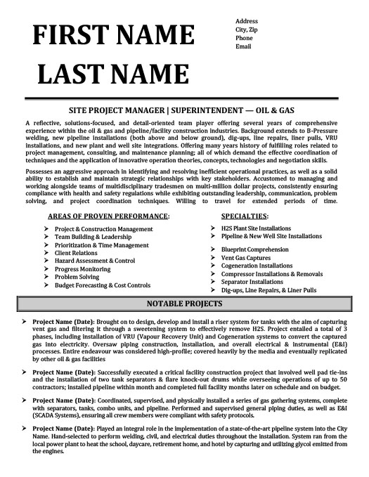 Superintendent  Oil  Gas Resume Template  Premium Resume Samples