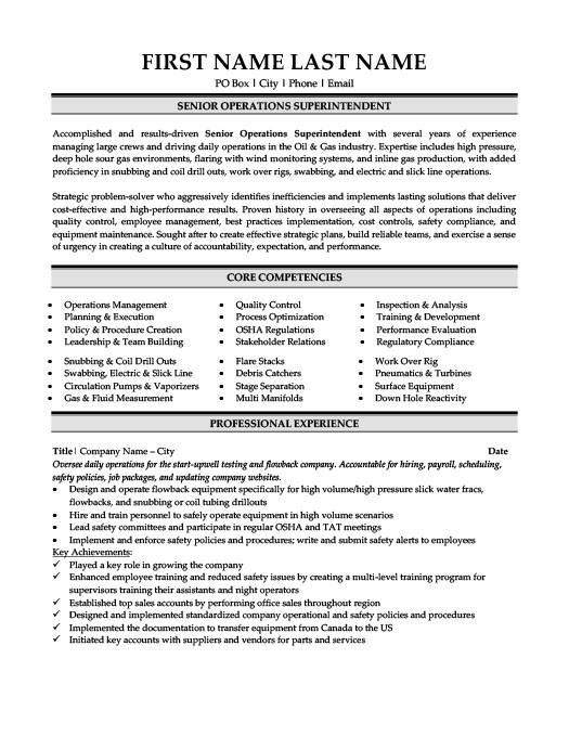 Senior Operations Superintendent Resume Template