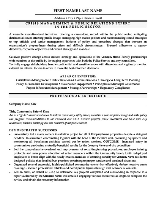 Crisis Management Public Relations Expert Resume Template