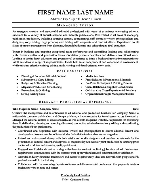 Managing Editor Resume Template | Premium Resume Samples & Example