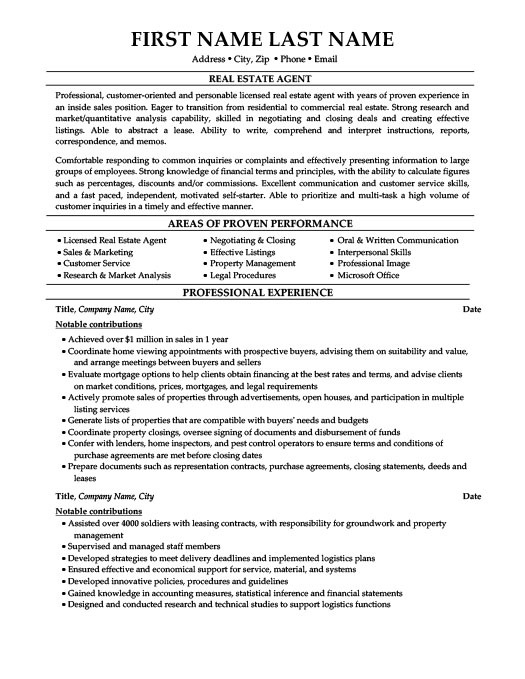 Good Real Estate Agent Resume