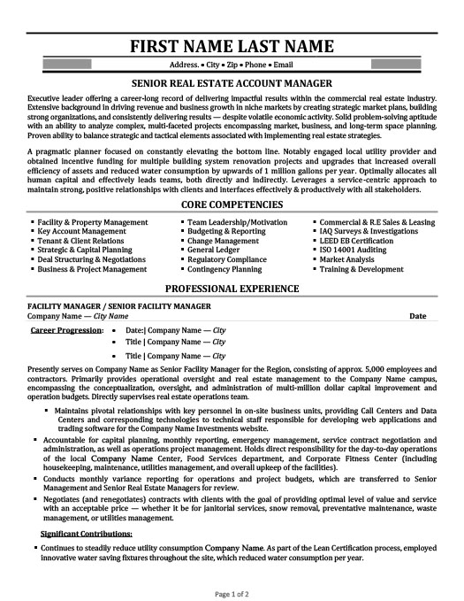 Senior Real Estate Account Manager Resume  Key Account Manager Resume
