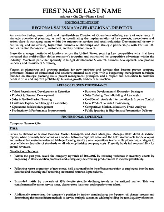 regional sales manager resume - Regional Sales Manager Resume