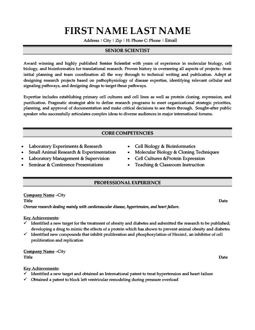 Senior Scientist Resume Template Premium Resume Samples Example