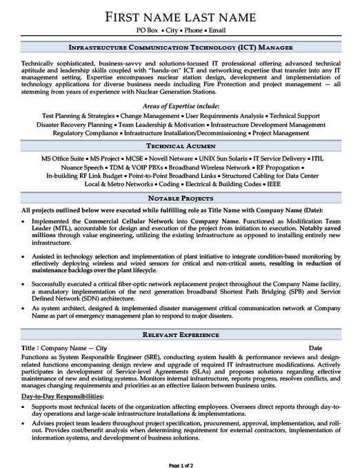 Infrastructure Communication Technology (ICT) Manager Resume  Communication On Resume