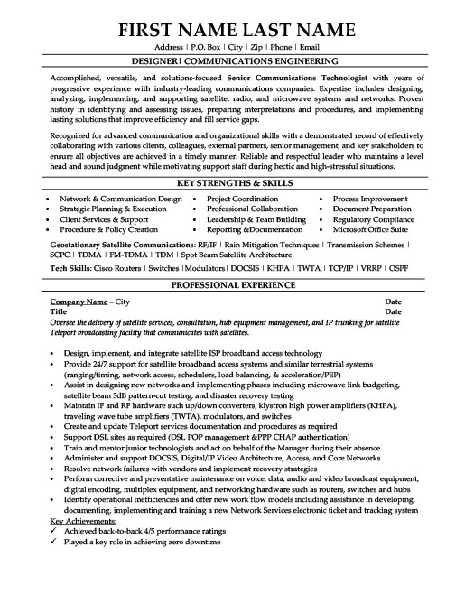 senior telecommunications technologist resume template
