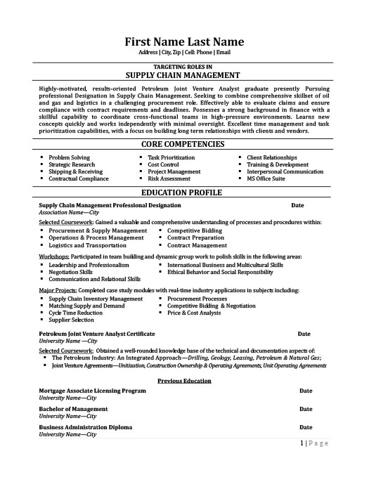 Supply Chain Management Professional Resume