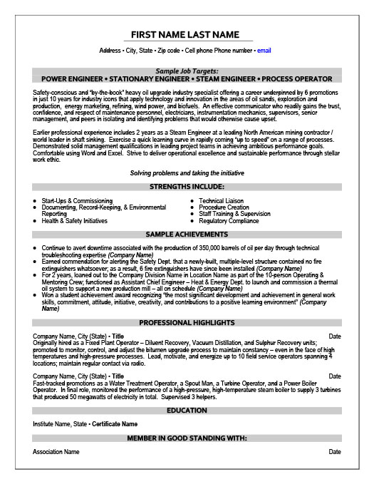 Power Engineer Resume Template | Premium Resume Samples & Example