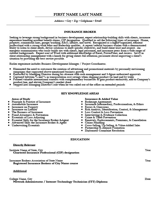 Insurance Broker Resume Template | Premium Resume Samples & Example